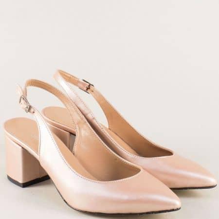 Златисти дамски обувки с отворена пета на среден ток 7303zl