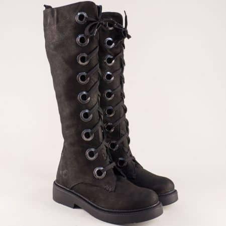 Черни дамски ботуши с връзки и цип от естествен набук 7307548nch