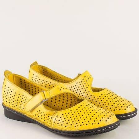 Дамски комфортни обувки за всеки ден произведени изцяло от естествена кожа с мека кожена стелка в жълт цвят 730j