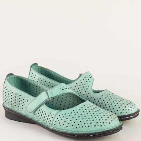 Зелени дамски обувки от естествена кожа с перфорация 730z