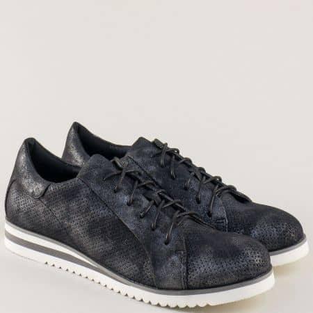 Спортни дамски обувки с връзки в черен цвят 7311-40ch