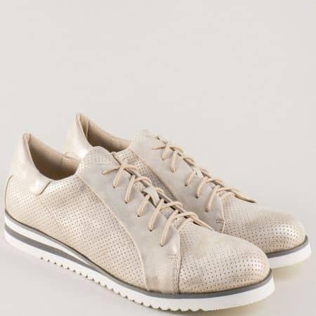 Златисти дамски обувки с връзки на равно ходило 7311-40zl