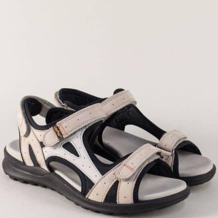 Бежови дамски сандали с три лепки на равно ходило 73214bj