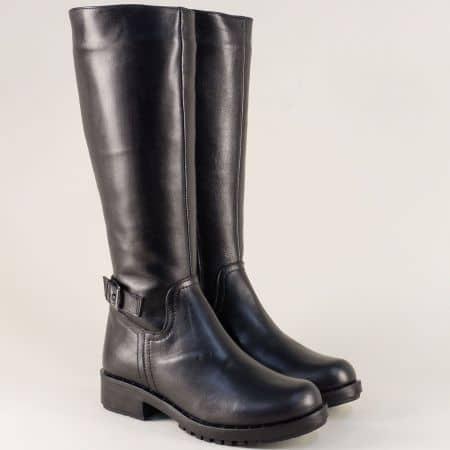 Български дамски ботуши от естествена кожа в черен цвят 7338682ch