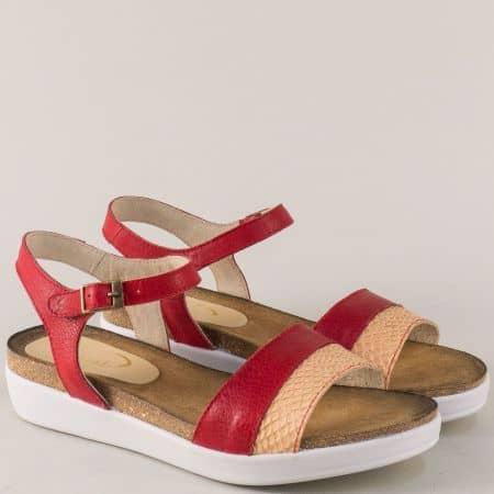 Дамски сандали в оранж и червено с кожена стелка 734154chv