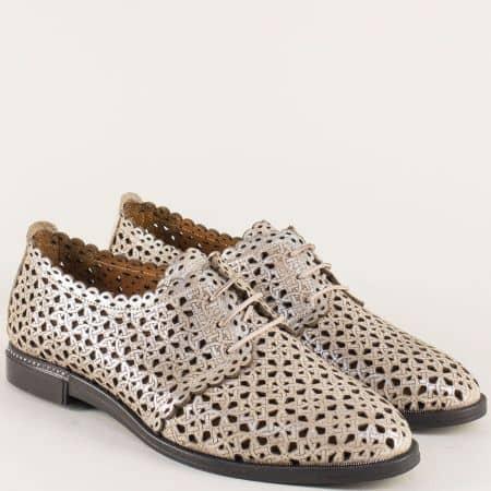Перфорирани дамски обувки от естествена кожа в злато 7355zl