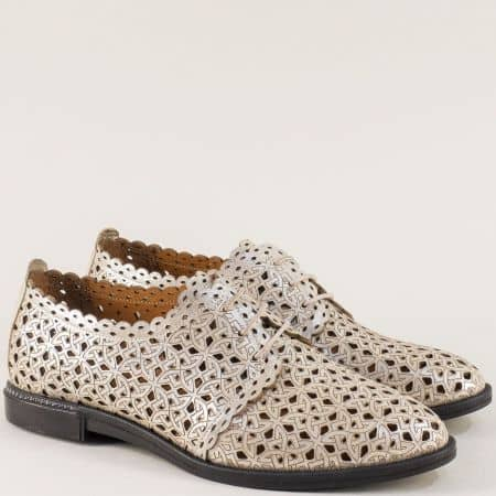 Златни дамски обувки с перфорация от естествена кожа  7355zl1