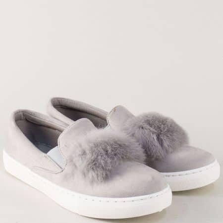 Модерни дамски обувки на равно ходило в сив цвят 735sv