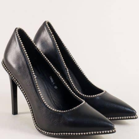Черни дамски обувки с декорация на елегантен висок ток 73851ch
