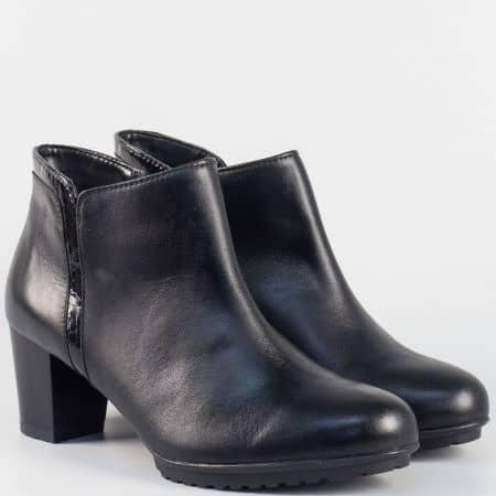 Дамски стилни боти на среден ток- ALPINA от естествена кожа в черен цвят 7391ch