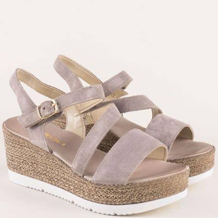 Дамски сандали от сив естествен велур на платформа 7412125vsv
