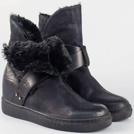 Дамски кожени боти на скрита платформа- Navvi в черен цвят 7418ch