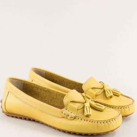 Жълти дамски мокасини от естествена кожа с два пискюла 7422j