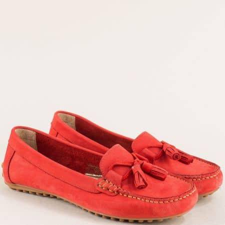 Равни дамски мокасини в червен цвят с кожена стелка  7422nchv
