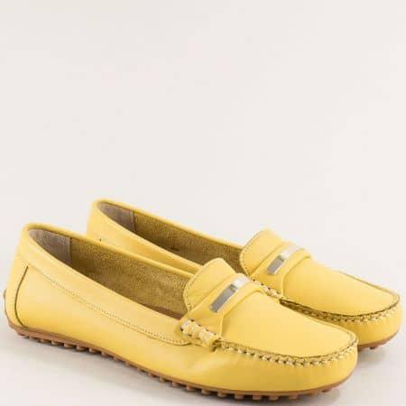Жълти дамски мокасини с декорация от естествена кожа 7432j