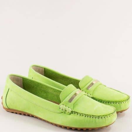 Дамски мокасини в зелен цвят от естествен набук 7432nz