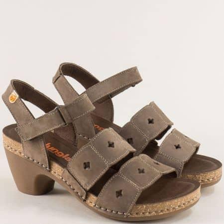 Кафяви дамски сандали с лепка и кожена стелка- JUNGLA 7452nk