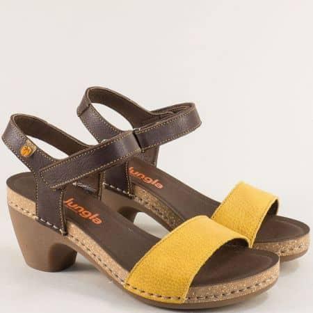 Дамски сандали на висок ток в жълто и кафяво- JUNGLA 7455kj