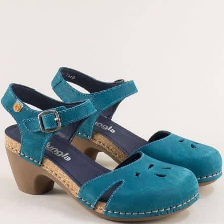 Сини дамски сандали- JUNGLA от естествен набук и каучук 7460ns