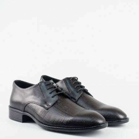 Официални мъжки черни обувки от естествена кожа, с връзки 7502192ch