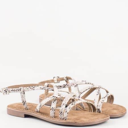 Равни дамски сандали- Lazamani със змийски принт с кожена стелка 75308b