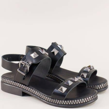 Черни дамски сандали на нисък ток от естествена кожа 7543ch