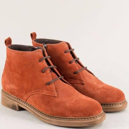 Дамски обувки тип кларк от естествен материал в оранжев цвят 75541801vo