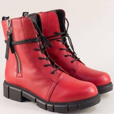 Червени дамски боти от естествена кожа на български производител 75902chv