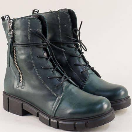 Зелени дамски боти от естествена кожа на български производител 75902z