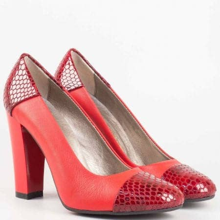 Дамски атрактивни обувки на висок ток с кроко лак в червен цвят 75chv