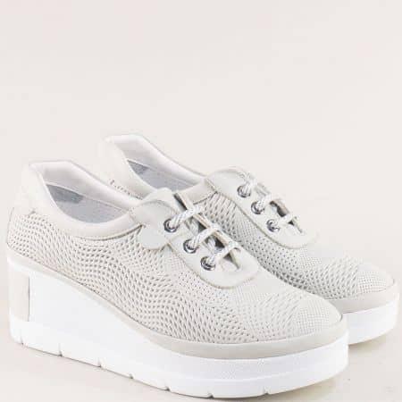 Сиви дамски обувки на платформа от естествена кожа 7602mb