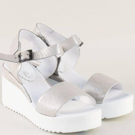 Сребърни дамски сандали от естествена кожа- NOTA BENE 761481164brz