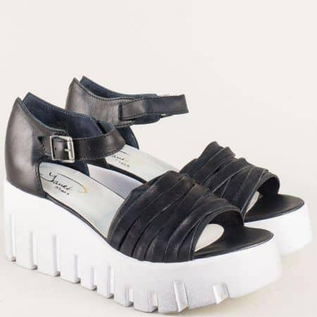 Черни дамски сандали със стелка от естествена кожа 762981ch