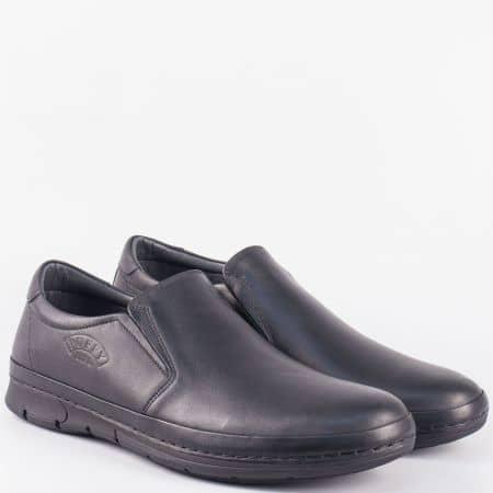 Шити мъжки обувки от черна естествена кожа с два ластика 762ch