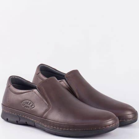 Тъмно кафяви мъжки обувки- шити от естествена кожа с два ластика 762kk