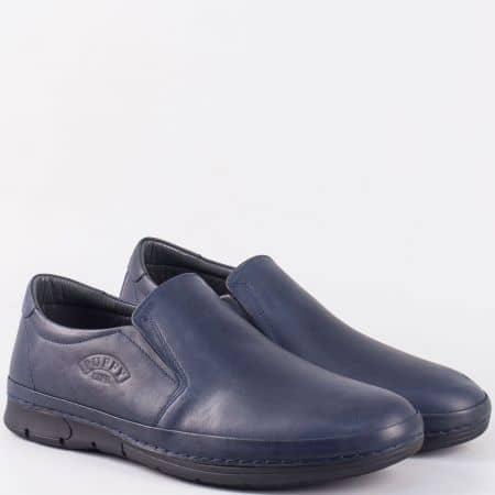 Равни мъжки обувки с два ластика от синя естествена кожа- шити 762s