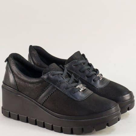 Черни дамски обувки от естествена кожа и сатен 7630sch