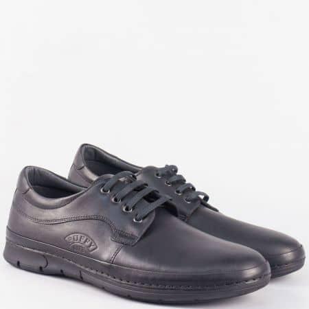 Кожени мъжки обувки с връзки на шито ходило в черен цвят 763ch