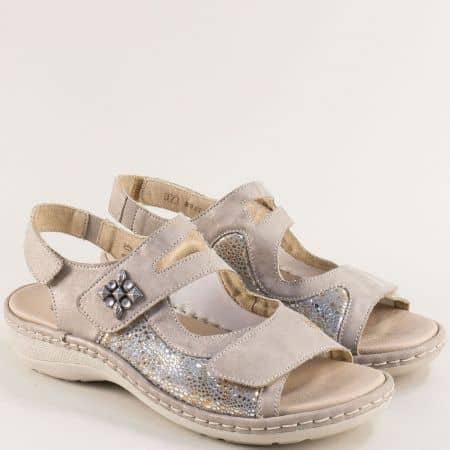 Дамски сандали с три лепки в бежов цвят- REMONTE 7647bj