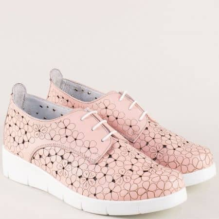 Български дамски обувки от естествена кожа в розов цвят 76631058rz
