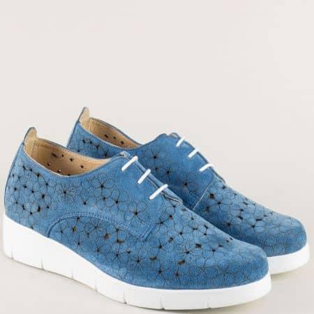 Анатомични дамски обувки от естествен велур в син цвят 76631058vs