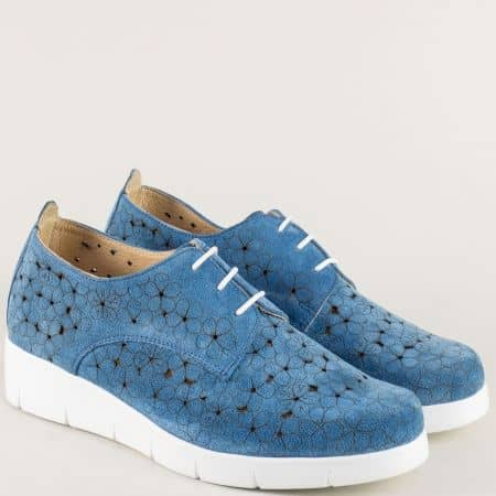Велурени дамски обувки с перфорация в синьо- NOTA BENE 76631058vs