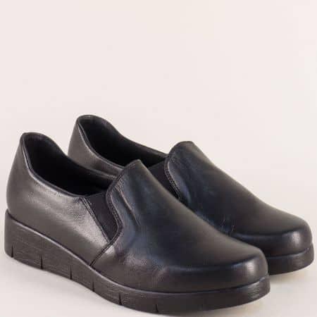 Дамски обувки от естествена кожа в черен цвят на комфортно ходило 76631098ch
