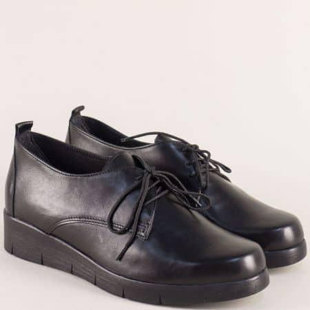 Кожени дамски обувки на комфортно ходило в черен цвят 7663997ch