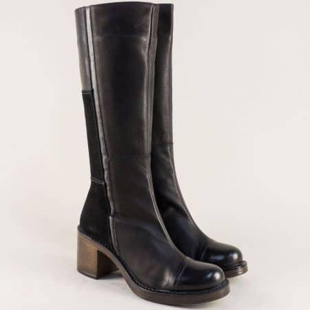Български дамски ботуши на висок ток в черен цвят 766793ch