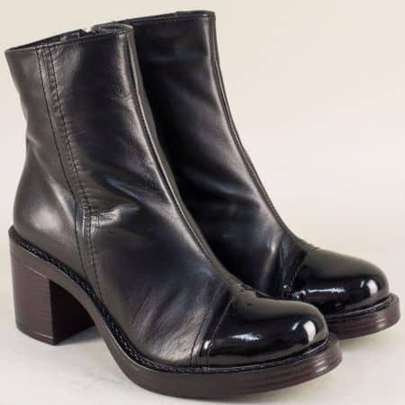Черни дамски боти от естествена кожа и лак на висок стабилен ток 766794ch