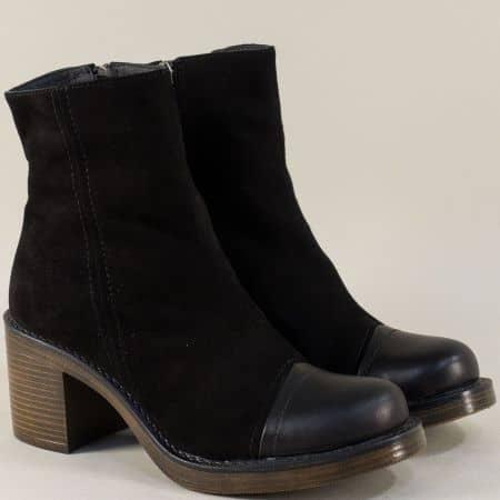 Черни дамски боти от естествен велур и кожа на висок ток 766794vch1