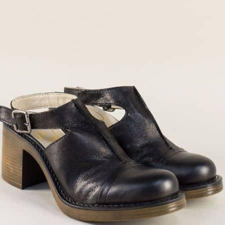 Дамски обувки в черен цвят с отворена пета на висок ток 76679ch
