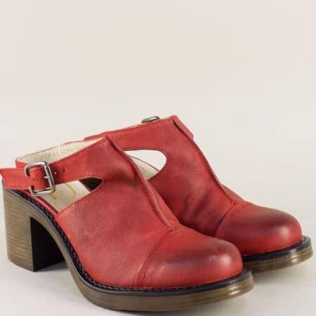 Дамски обувки с отворена пета и висок ток в червен цвят 76679chv