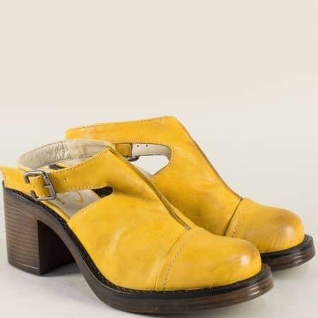 Жълти дамски обувки с отворена пета от естествена кожа 76679j
